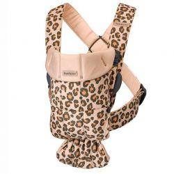 Mochila Porta Bebé Mini Beige Leopard Algodón