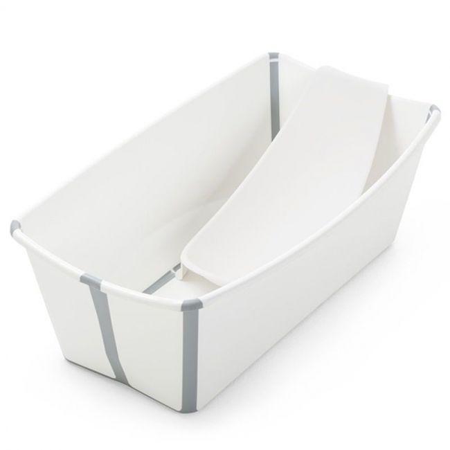 Set Bañera Plegable Stokke Flexi Bath Blanco con Tapón y Soporte Recién Nacido