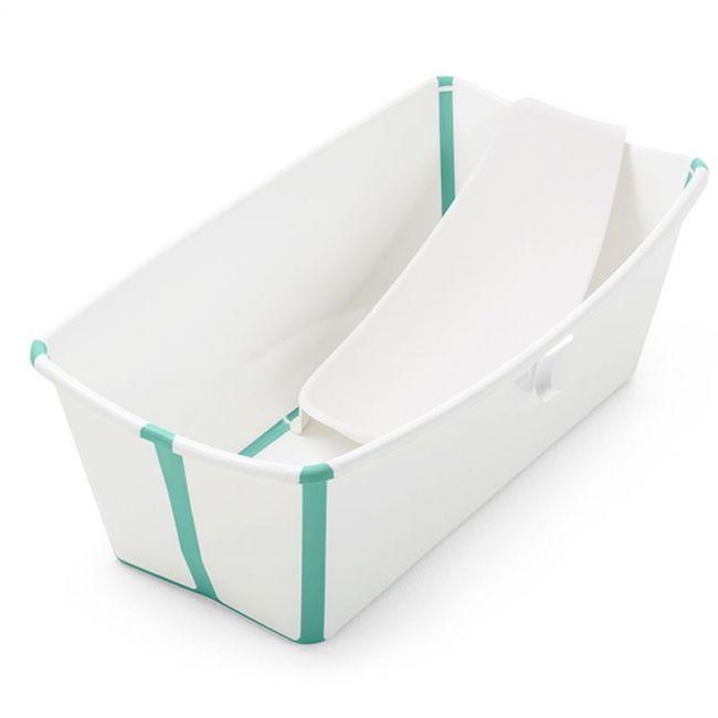 Set Bañera Plegable Stokke Flexi Bath Blanco y Verde Agua con Tapón y Soporte Recién Nacido