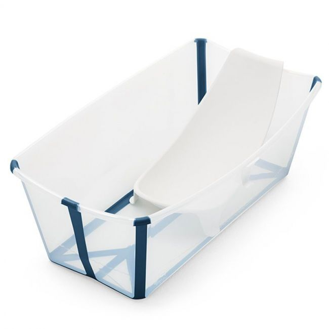 Set Bañera Plegable Stokke Flexi Bath Transparente y Azul con Tapón y Soporte Recién Nacido