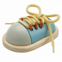 Juguete de Madera Zapato para Atar Azul / Beige