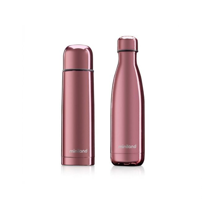 Set Termo para líquidos + Botella Deluxe Miniland Mybaby & Me Rose Rosa