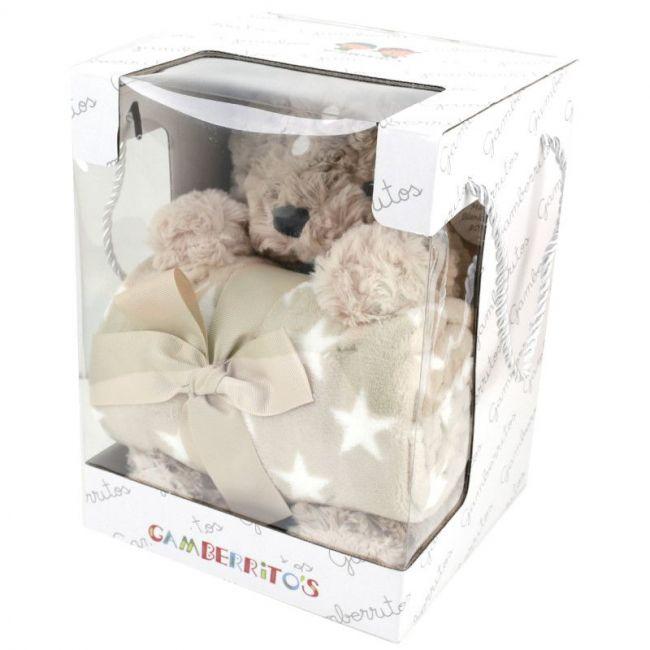 Set de regalo muñeco y manta: Reno beige