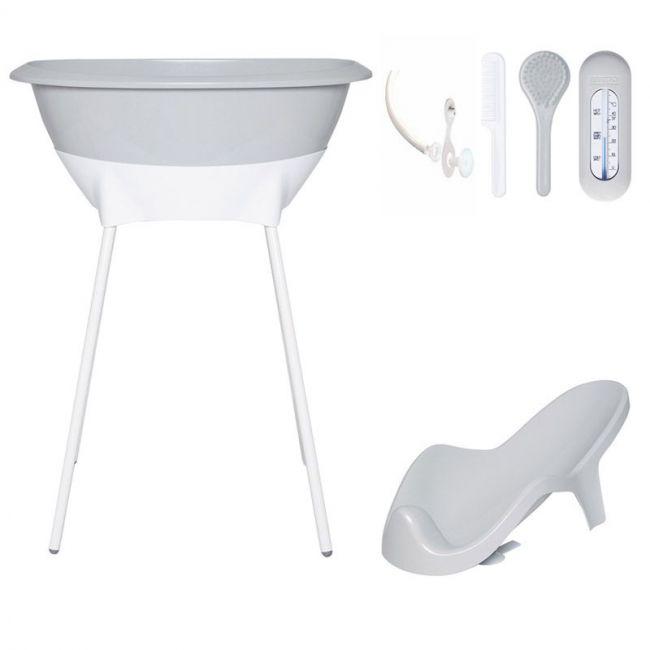 Set02 LUMA: bañera y asiento baño - Light Grey/patas Grey