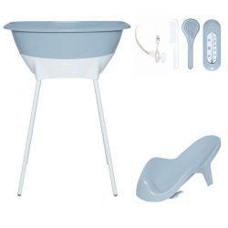 Set02 LUMA: bañera y asiento baño - Celestial Blue/patas White
