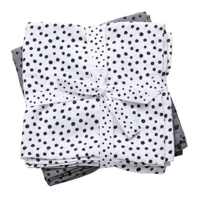 Burp Cloth 2-Pack Happy Dots Grey