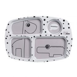 Bandeja con Compartimentos Happy Dots Gris