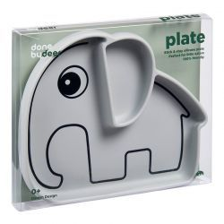 Tazón de Silicona con Ventosa Elefante Elphee Gris